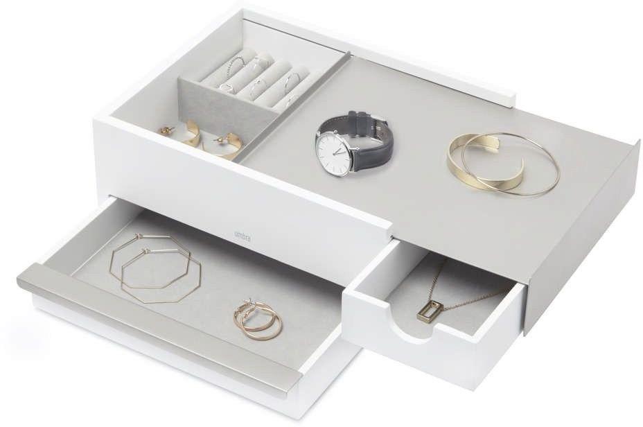 Umbra - pudełko na biżuterię stowit - orzechowe - nikiel biały