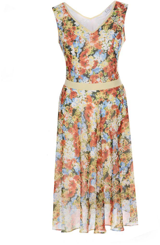 Sukienka FSU626 EKRI+POMARAŃCZOWY MOCNY