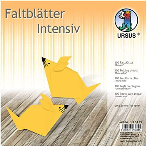 URSUS 3145119 składane arkusze Uni, 100 arkuszy 65 g/m  20 x 20 cm, dla małych i dużych artystów origami, barwione w intensywnych kolorach, żółta kukurydziana