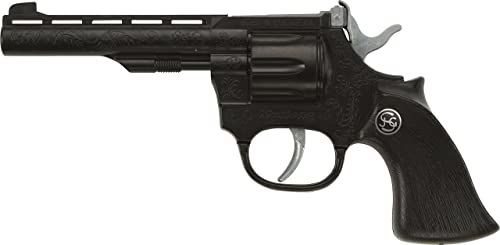 Bauer Spielwaren 4009131 Schrödel J.G. Mustang: zabawkowy pistolet do płytek zapłonowych, idealny do kostiumu kowbojskiego lub policyjnego, 100 strzałów, 19 cm, czarny (400 9131)