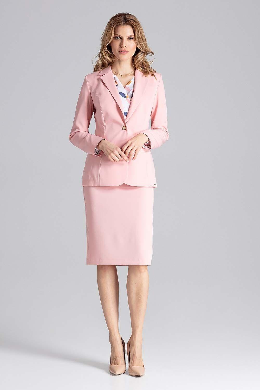 Klasyczny różowy żakiet na jeden guzik z kolorową podszewką