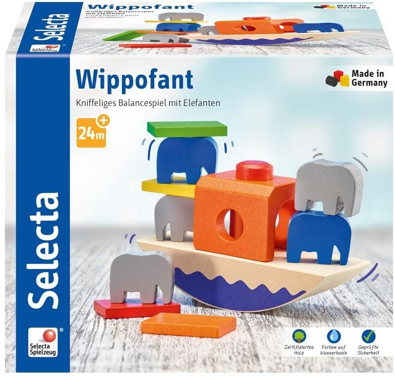 Selecta 62012 Wippofant, drewniana zabawka do układania, 15,5 cm