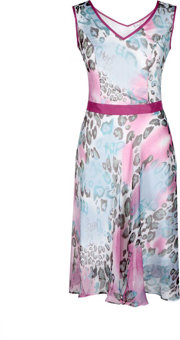 Sukienka FSU626 EKRI+TURKUSOWY ŚREDNI