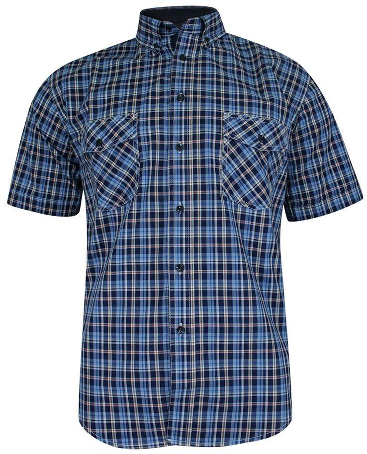 Koszula Bawełniana, Niebiesko-Granatowa Casualowa z Krótkim Rękawem, z Kieszonkami, w Kratkę -FORMAX KSKCKOWFRMX0008baw