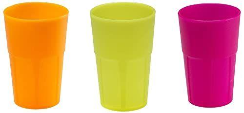 Mojito Design Pudełko ze szkła koktajlowego, tworzywo sztuczne, mieszane kolory fluorescencyjne, 0,35 l, 6 sztuk