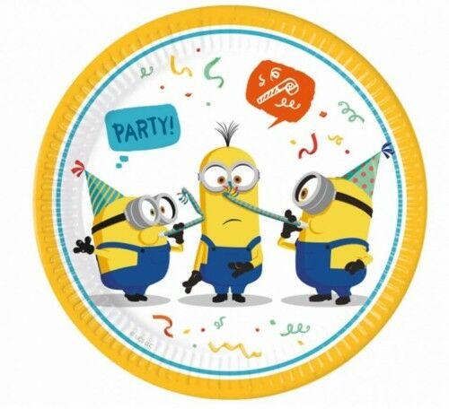 Talerze papierowe Minionki - Minions Party (23 cm), 8 szt