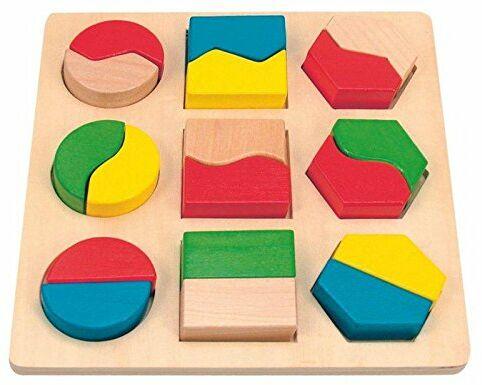 Woody Zabawa motoryczna. Puzzle do sortowania, gra kolorów i kształtów w jednym. Sprawdzone przez Safe Toys. 18-częściowy
