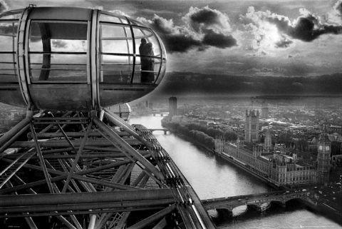 Londyn - london eye - panorama - plakat