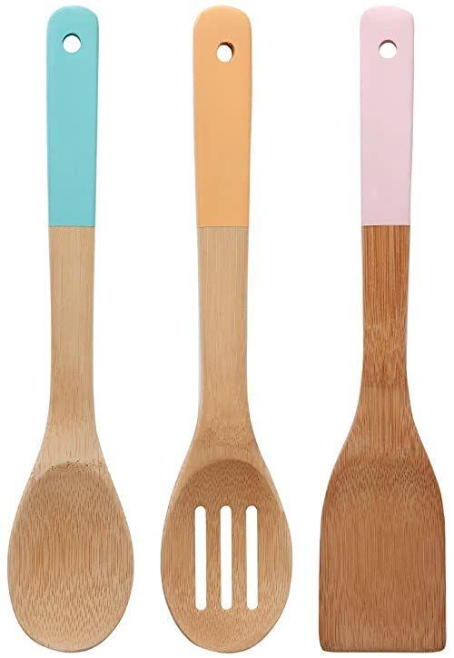 Premier Housewares 805459 zestaw przyborów kuchennych z pastelowymi uchwytami, bambusowy, wielokolorowy