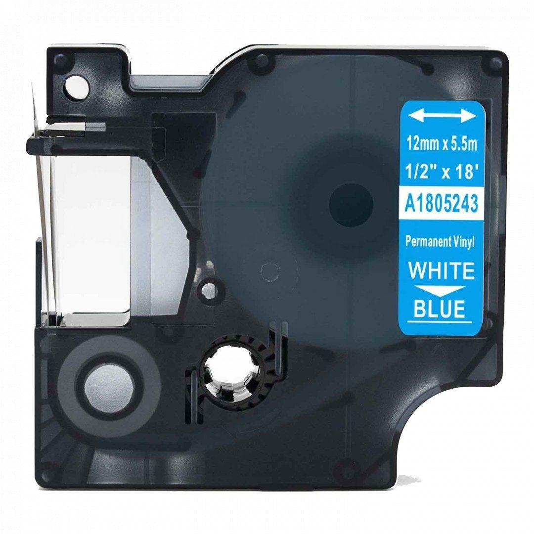 Taśma DYMO Rhino 1805243 winylowa 12mm x 5.5m niebieska biały nadruk - zamiennik OSZCZĘDZAJ DO 80% - ZADZWOŃ! 730811399