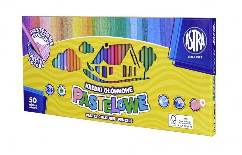 Kredki ołówkowe 50 kolorów pastelowych ASTRA 155135