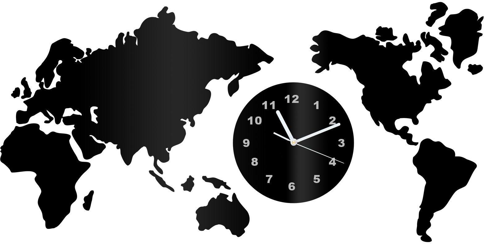 Zegar z pleksi na ścianę Mapa świata z białymi wskazówkami