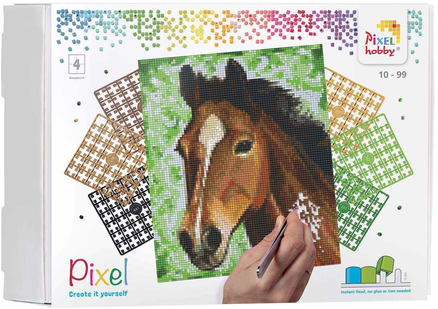 Pixel P090027 Mozaika opakowanie na prezent koń Obraz pikseli około 20,3 x 25,4 cm rozmiar do tworzenia dla dzieci i dorosłych, kolorowy