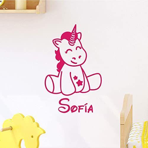 Spersonalizowana naklejka z imieniem, samoprzylepna, możliwość personalizacji, do pokoju dziecięcego, 2 arkusze o wymiarach 25 x 20 cm i 40 x 25 cm, fuksja