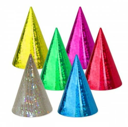 Czapeczka papierowa w holograficzne wzory, Party duża