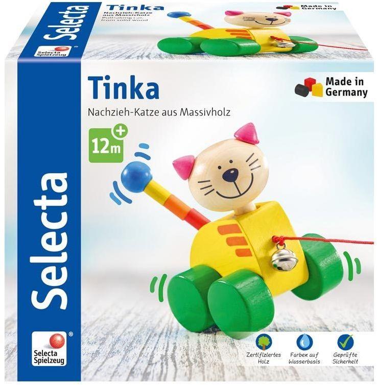 Selecta 62035 Kotka Tinka, zabawka do ciągnięcia, z drewna, 12 cm