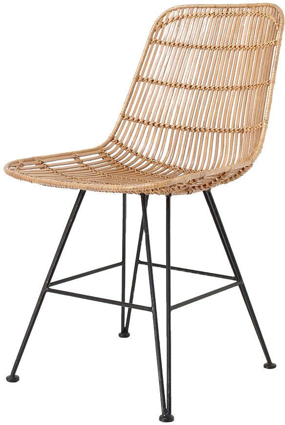 Krzesło DINING CHAIR NATURAL RAT0036 HK Living naturalne ratanowe krzesło na metalowej ramie