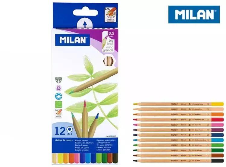 Kredki ołówkowe metalizowane 12 kolorów MILAN