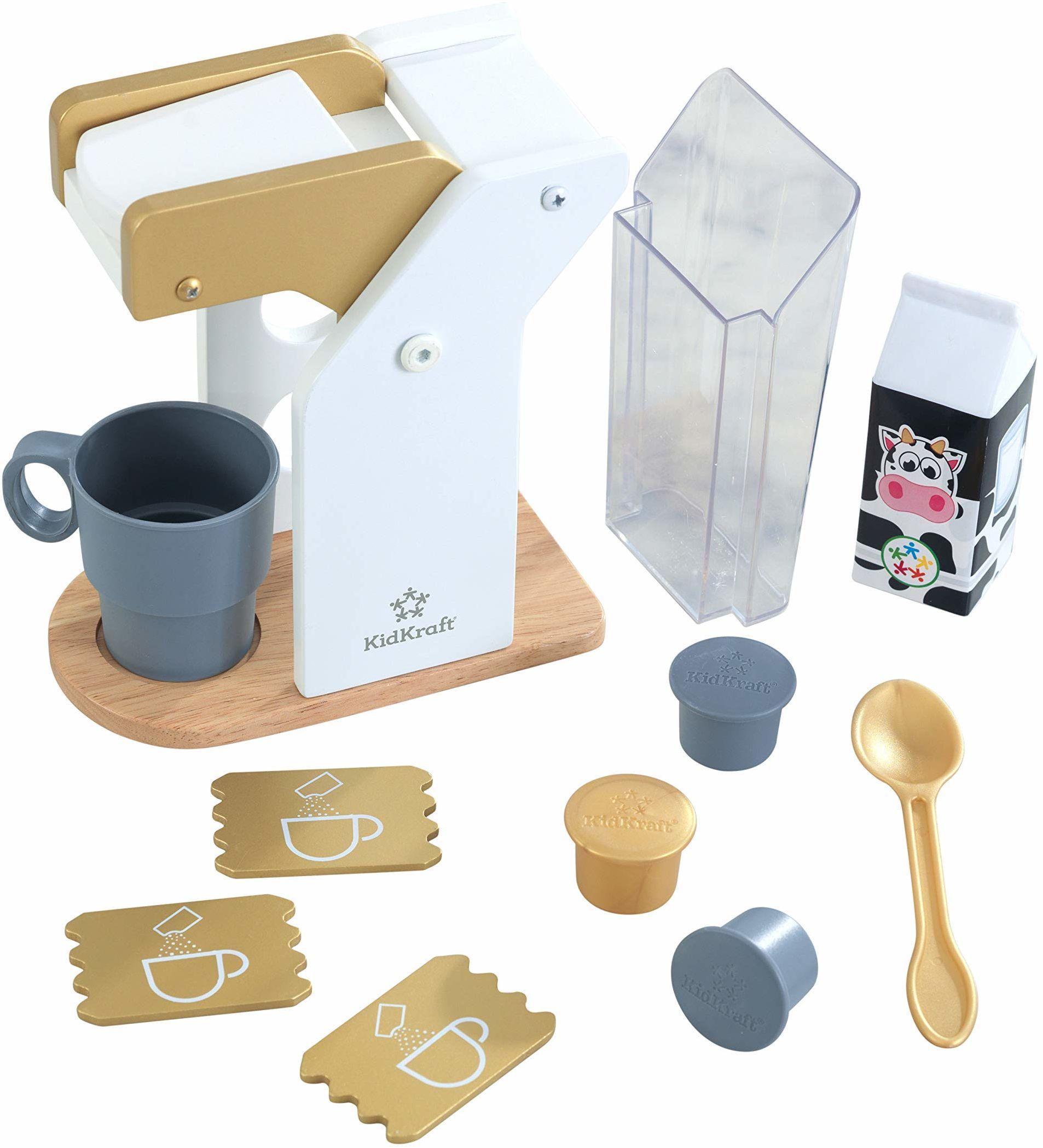 KidKraft 53538 zestaw do zabawy dla dzieci kuchnia drewniana zabawka zestaw do kawy w nowoczesnych metalicznych kolorach, akcesoria kuchenne do zabawy