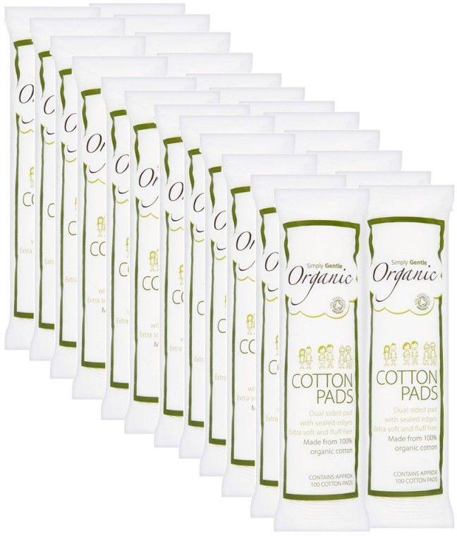 Organiczne Waciki w Płatkach (100 szt.), 100% bawełna organiczna - KARTON, 24 opakowania