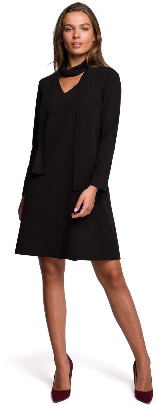 S233 Sukienka z szyfonowym szalem - czarny