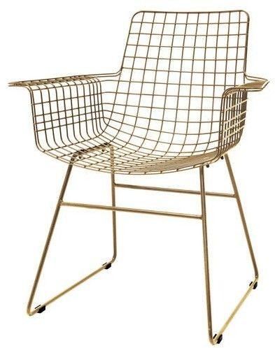 Krzesło WIRE ARM CHAIR BRASS MZM4618 HK Living metalowe krzesło w kolorze mosiądzu z podłokietnikami