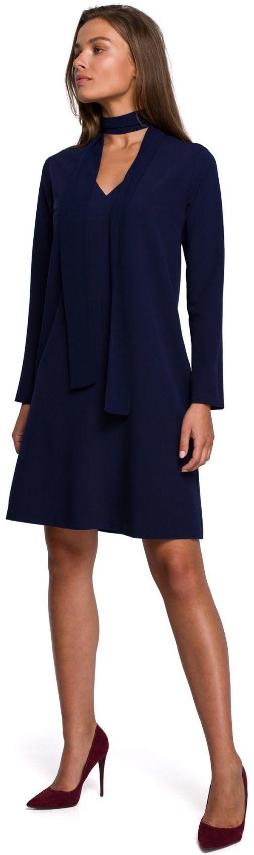 S233 Sukienka z szyfonowym szalem - granatowa