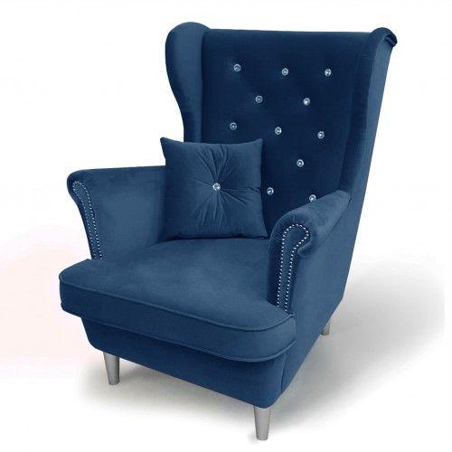 Wygodny fotel Uszak 6 z kryształkami