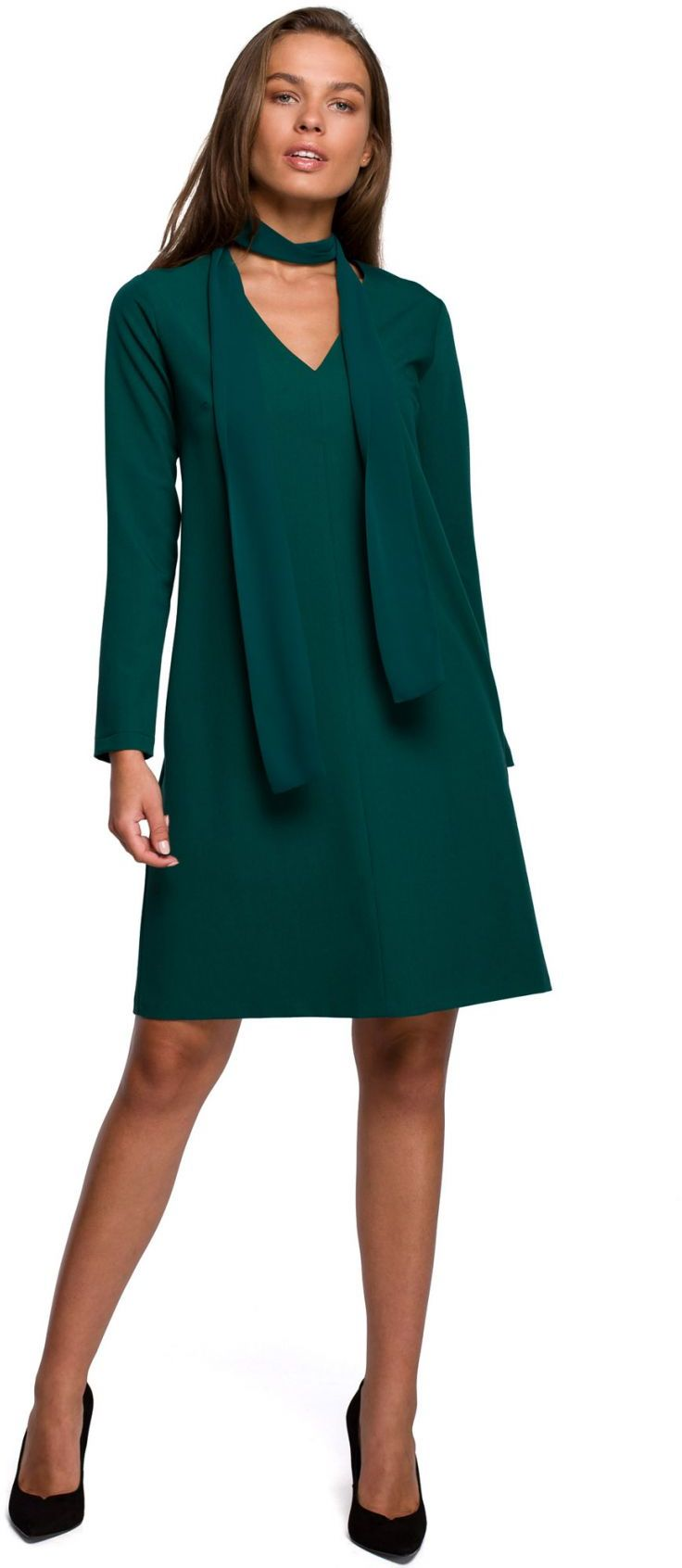 S233 Sukienka z szyfonowym szalem - zielona