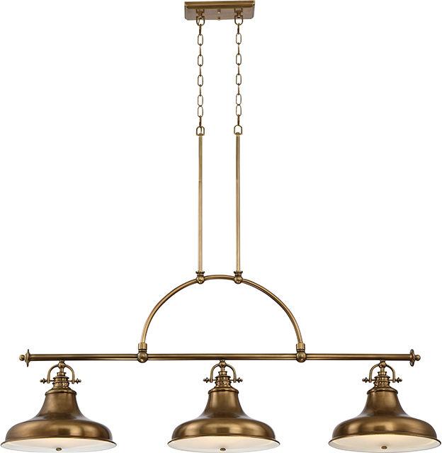 Lampa wisząca Emery QZ/EMERY3P WS Quoizel potrójna oprawa w kolorze mosiężnym