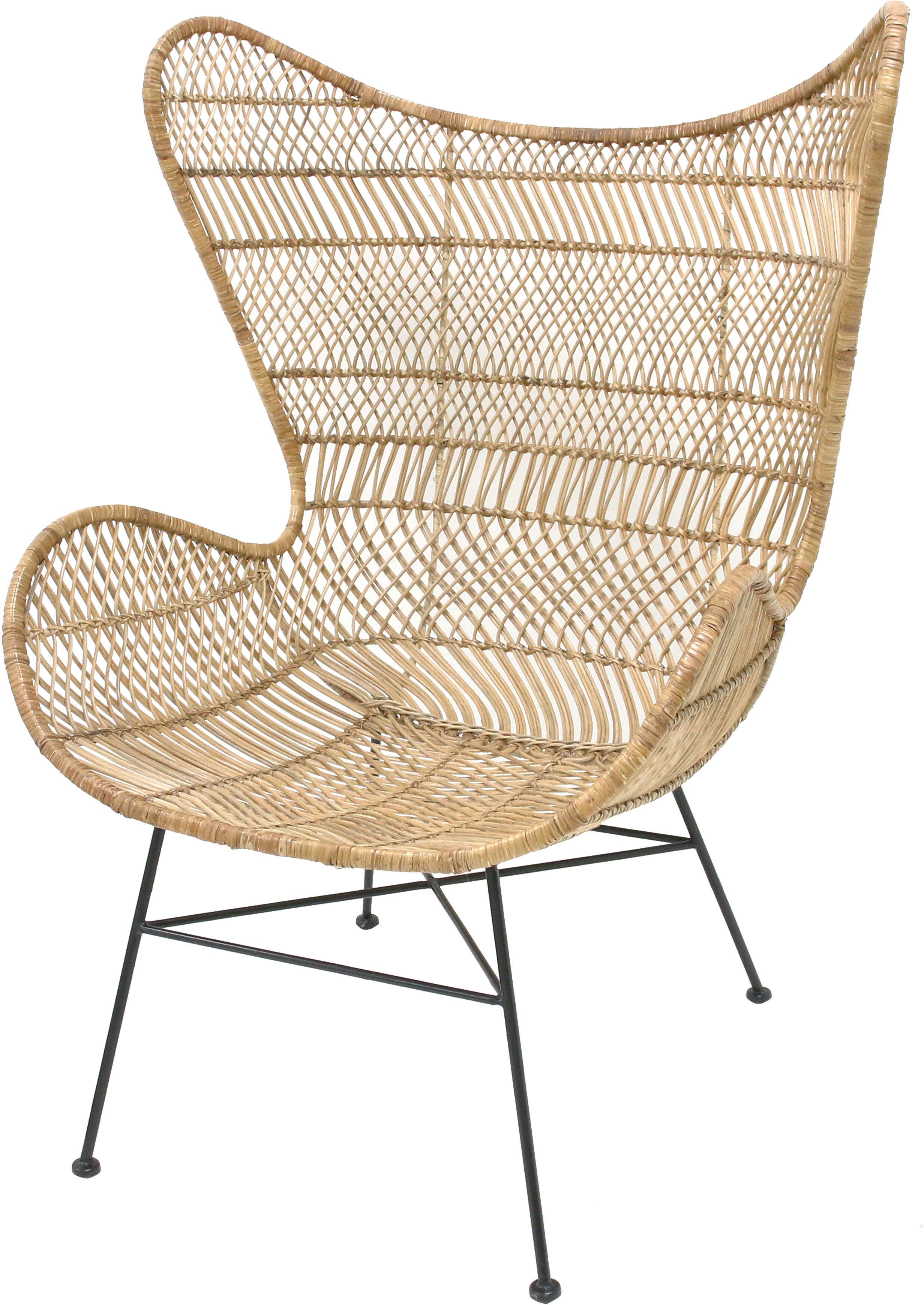 Fotel rattanowy w stylu boho naturalny MZM4624 HK Living ręcznie pleciony rustykalny fotel z rattanu
