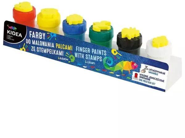 Farby do malowania palcami ze stemplami 6szt KIDEA