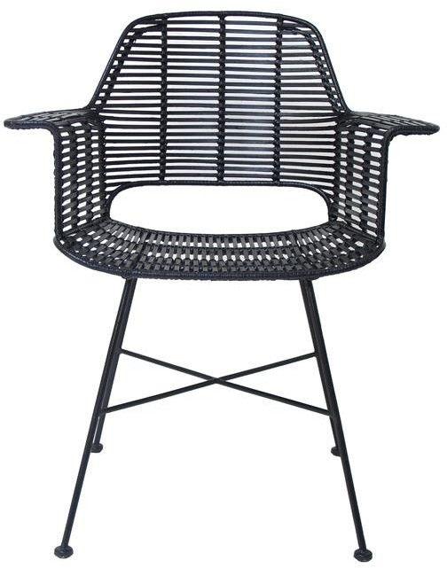 Krzesło TUB CHAIR BLACK RAT0041 HK Living czarne ratanowe krzesło z podparciem na ręce