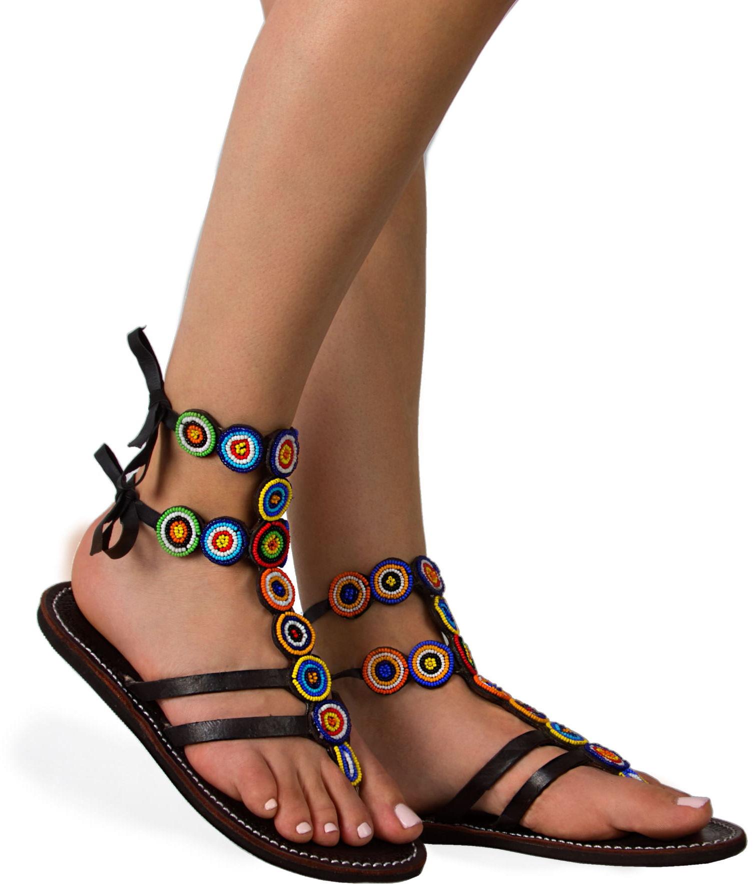 Sandały ze skóry w stylu boho Gladiator Multi