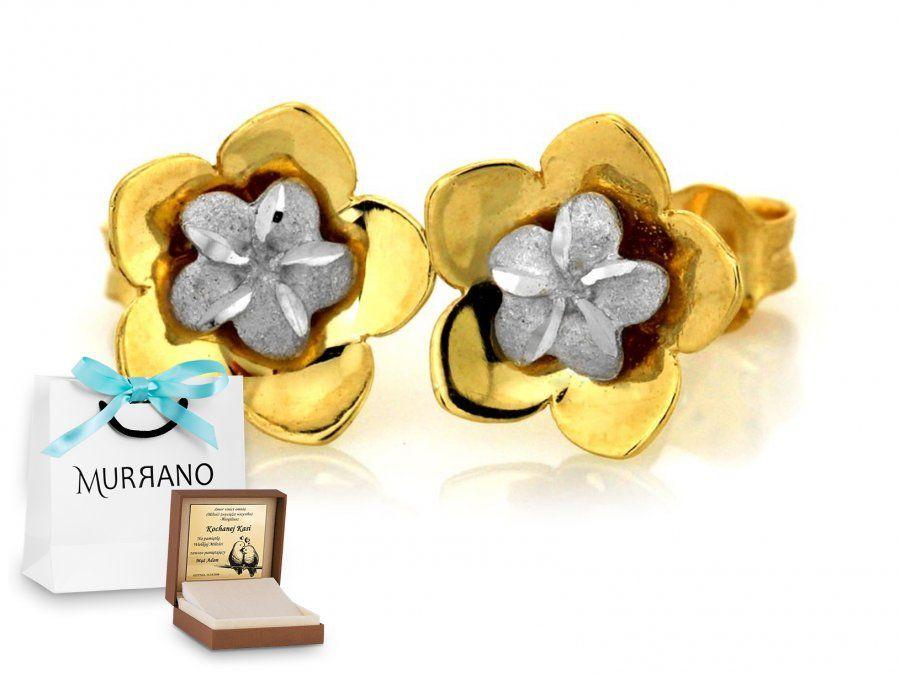 Złote kolczyki 333 na sztyft kwiatek prezent