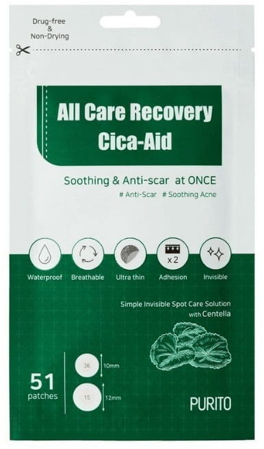 Purito All Care Recovery Cica-Aid Plastry na wypryski - 51 szt.