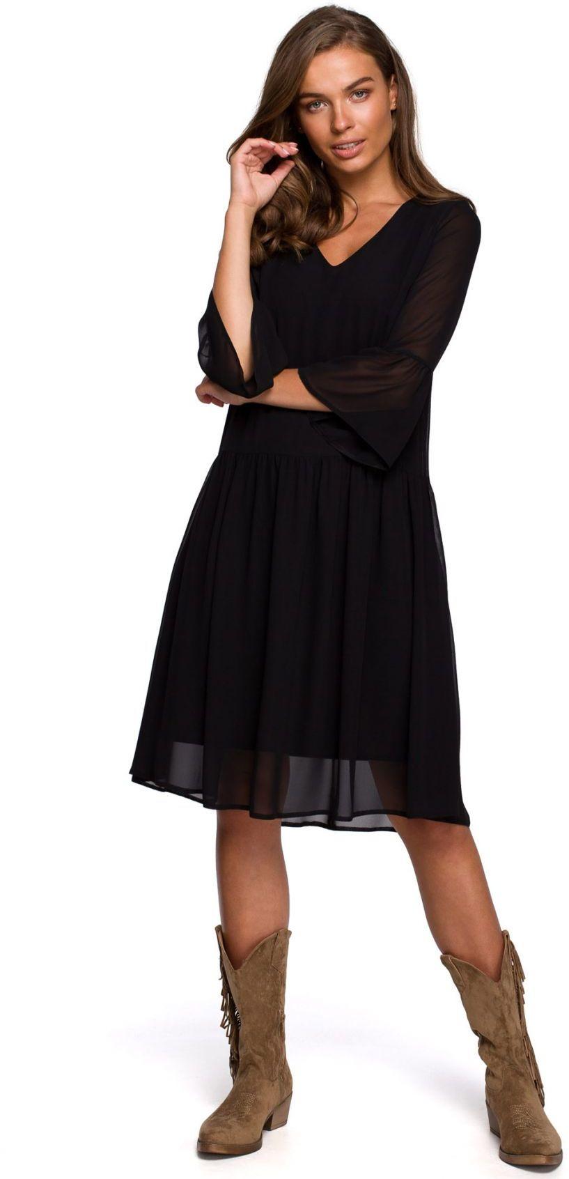 S236 Sukienka szyfonowa gładka - czarna