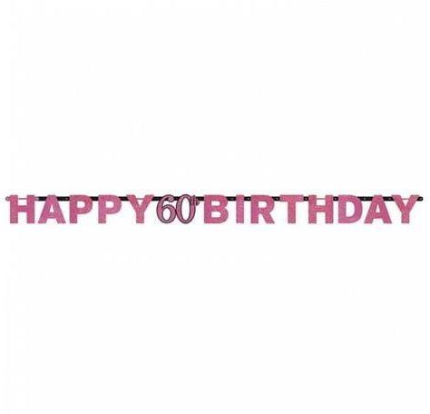 Baner na 60 urodziny różowy Sparkling Celebration