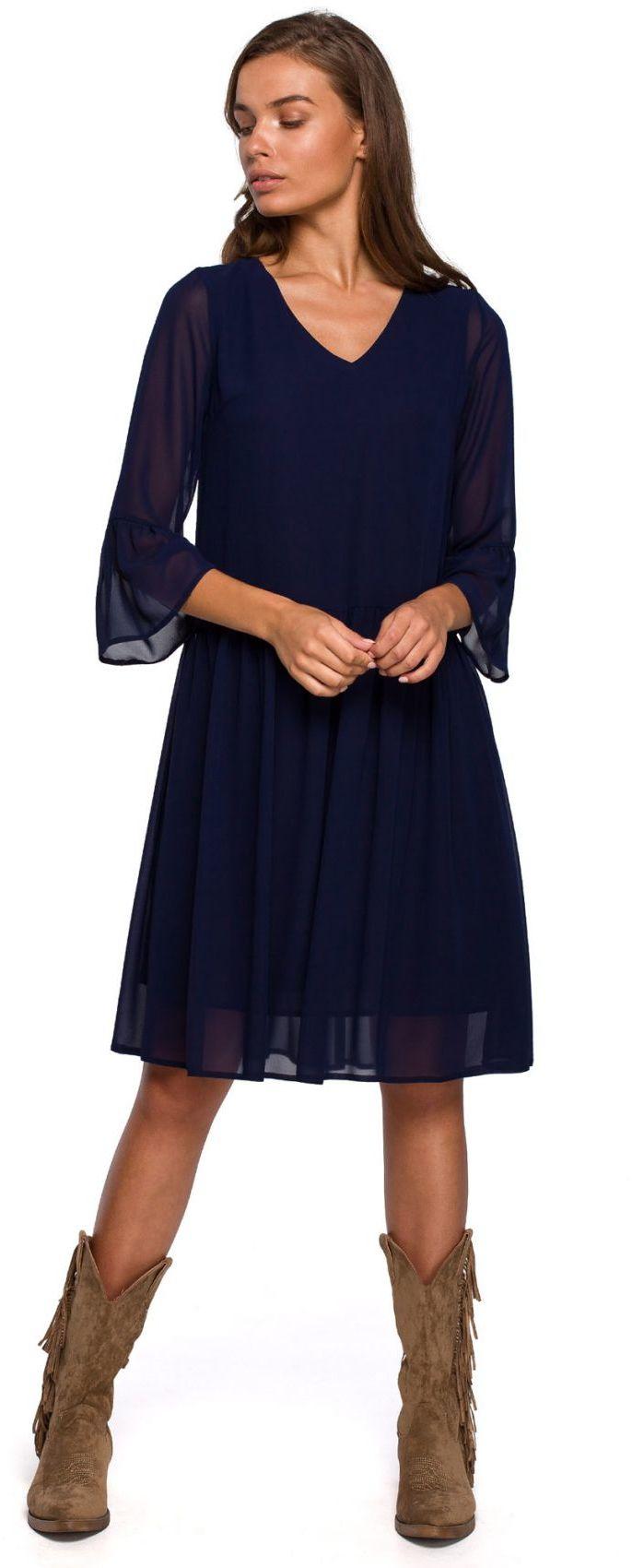 S236 Sukienka szyfonowa gładka - granatowa