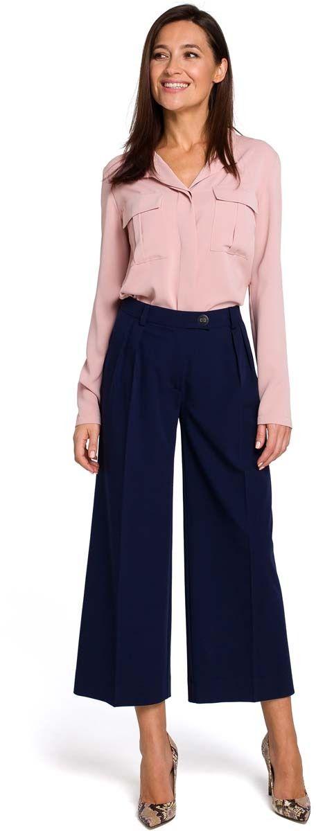 Granatowe eleganckie spodnie kuloty w kant