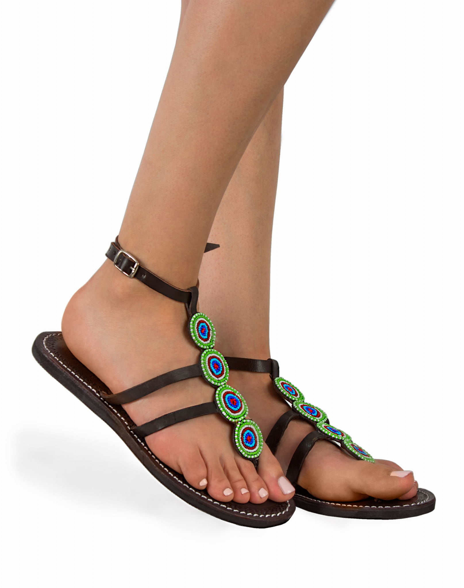 Sandały etniczne ze skóry Green Beads