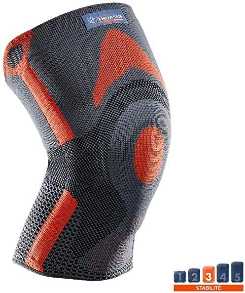 Wzmocniona opaska na kolana na rzepkę Thuasne Sport - szary/pomarańczowy - rozmiar XXL