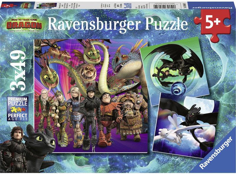Ravensburger - Puzzle Jak wytresować smoka 3x49 el. 080649