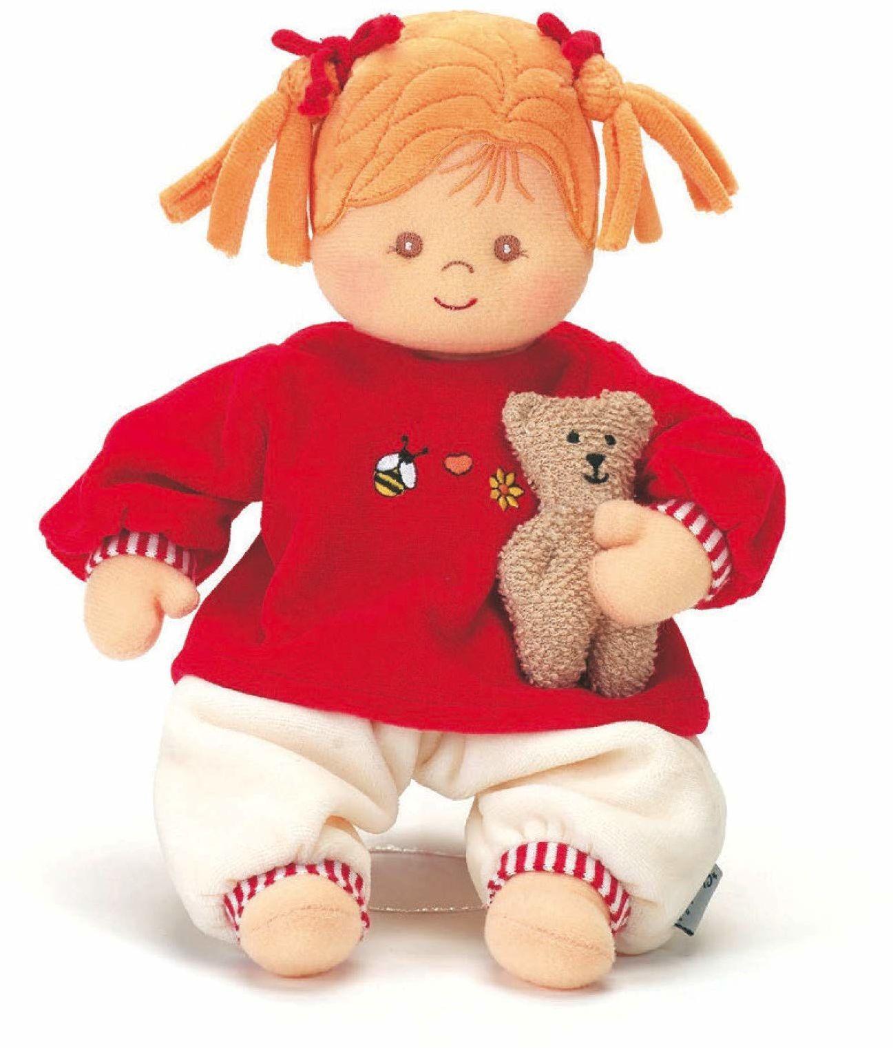 Sterntaler 3011570 lalka Magdalena, zintegrowana grzechotka, wiek: dla dzieci od urodzenia, 33 cm, czerwony/beżowy