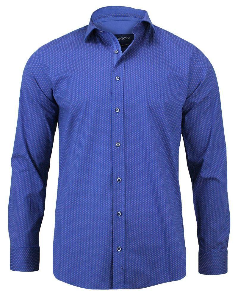 Elegancka, Niebieska Koszula Męska w Drobny Wzór, Długi Rękaw, Krój Prosty KSDWRGN0142