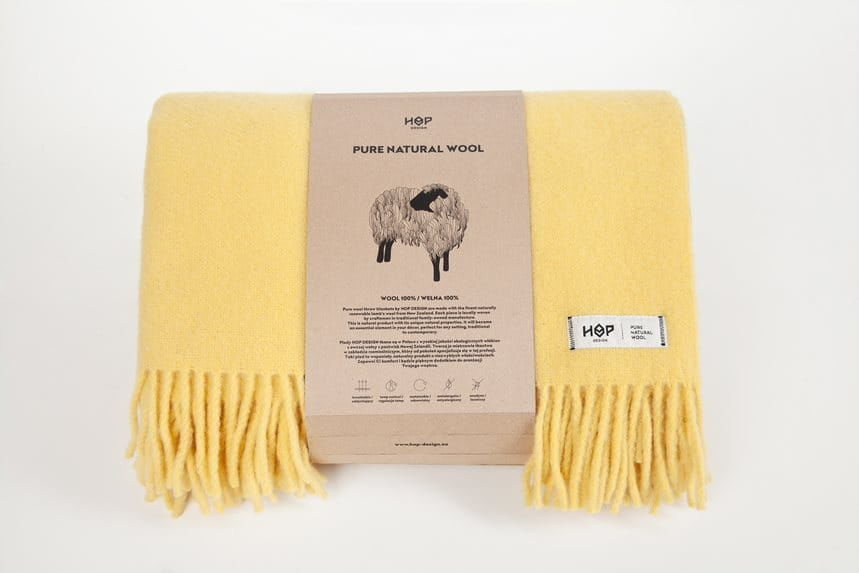Koc wełniany 145x205 HOP Design Yeti Pastelowy Żółty