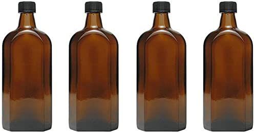 mikken - 4 butelki medyczne w brązowym szkle, butelki apteczne z etykietami po 4 x 500 ml czarne