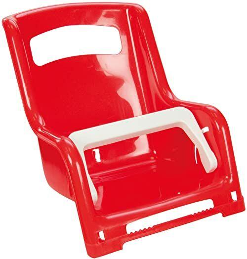 Lena 61168 siedzisko dla lalek, ok. 27 cm, 1 komora posortowana kolorystycznie, siedzisko dla lalki do przechowywania rowerów dziecięcych, fotelik na bagażnik dla ulubionej lalki, czerwony lub żółty
