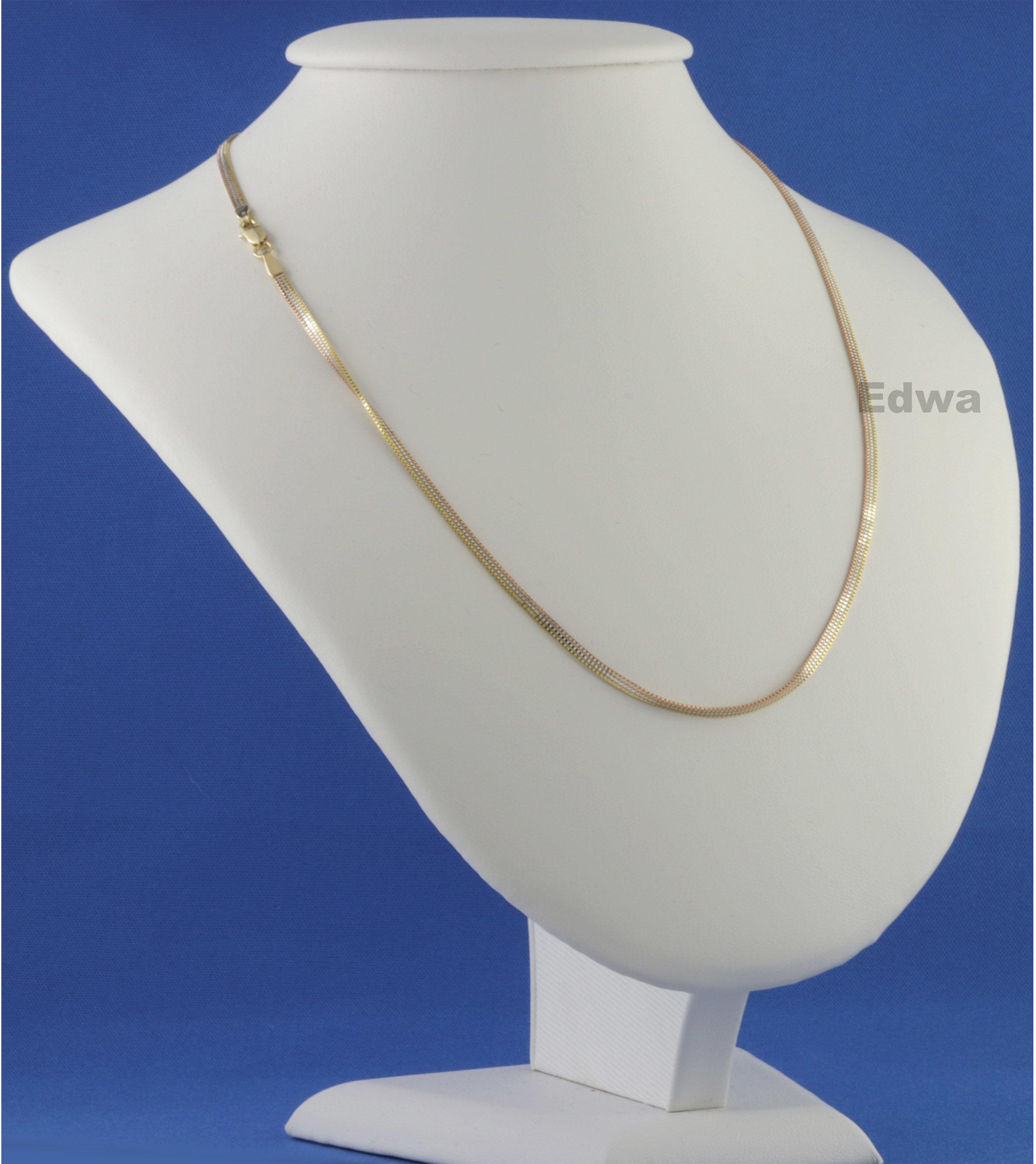 Łańcuszek złoty kostka trójkolorowa pr.585