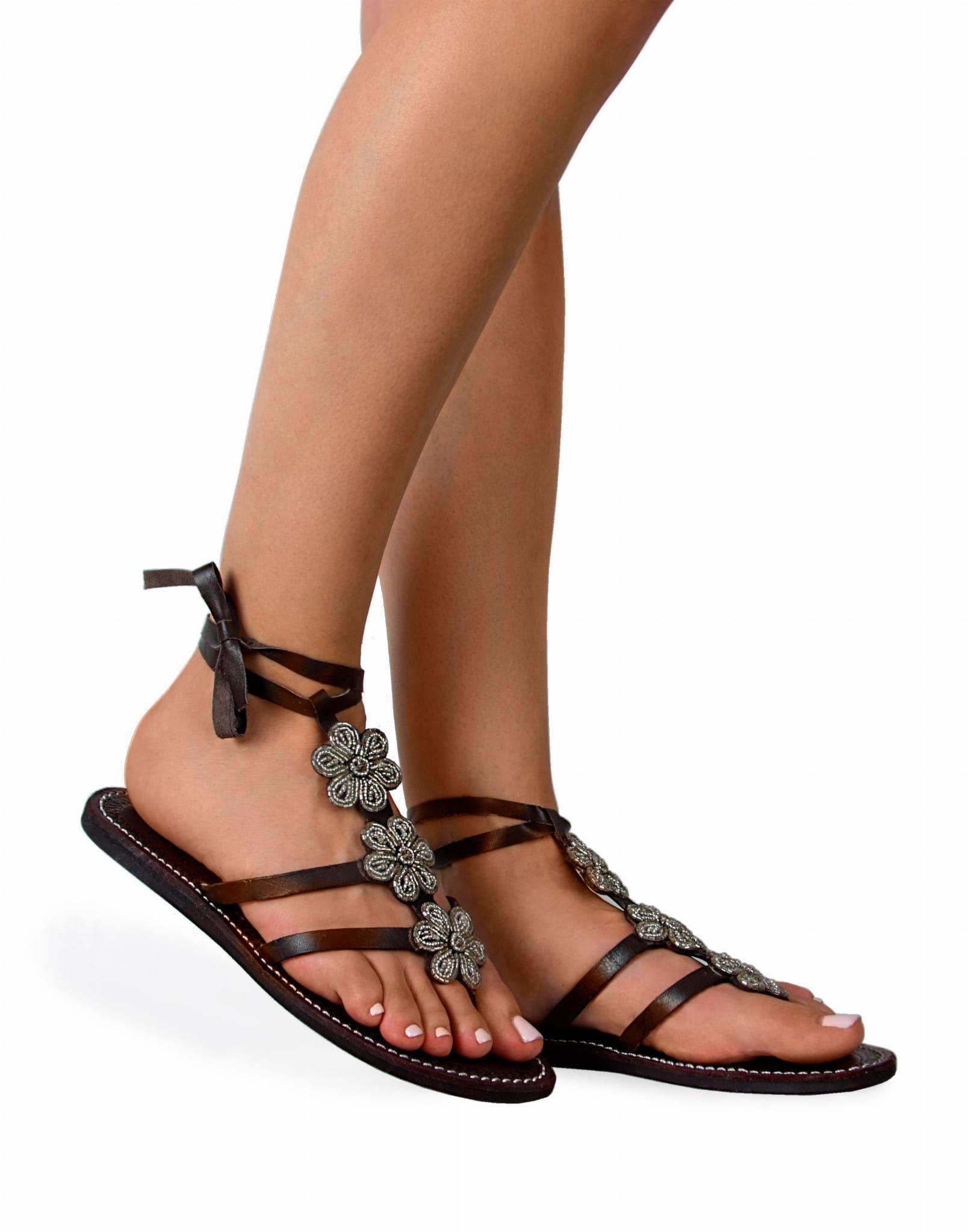 Sandały wiązane ze skóry Gladiator Shiny